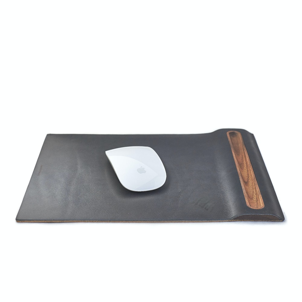 Leather Mouse Pad & Wood Tray Mouse Mat with Cork Base