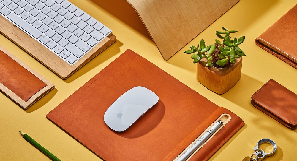 Grovemade Leather Mouse Pads and Wood Keyboard Tray Accessories